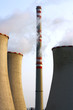 thin and fat chimneys of power plant