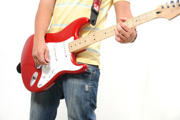 Playing electric guitar