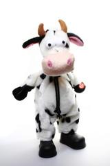 Boneco com corpo de vaca isolado no fundo branco