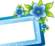 blue floral frame with dew-drop