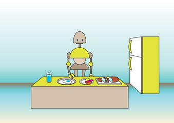 comic robot on the kitchen