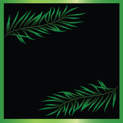 Two green branches on a black background