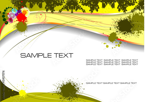 Green and Yellow grunge background. Vector