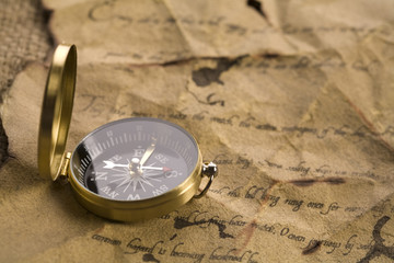 Old letter and compass