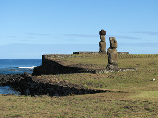 Moais on Ahu Tahai on the Easter Island