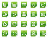 Database web icons, green sticker series poster