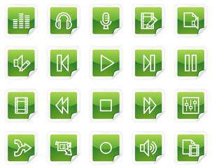Audio and video edit web icons, green sticker series