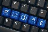 """Contact"" keys on keyboard (x5) (black/blue)"