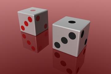 Dados com reflexo, conceito de jogo 3D render