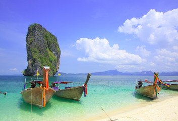 Koh Poda with long tail boats on beach
