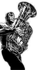 vector illustration with trumpet in graphic style