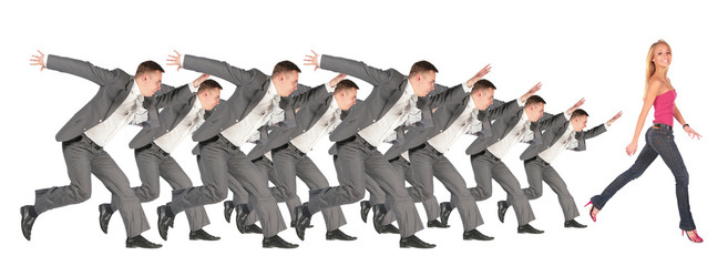 Businessmen run for the girl collage