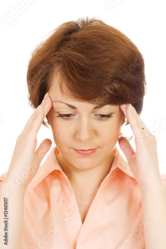 Portrait of beautiful woman with migraine