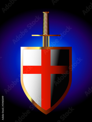 Golden shield and sword of saint george