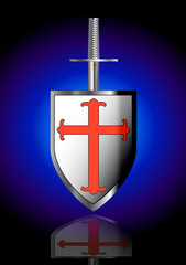 Silver sword and shield of Saint George