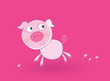 roleta: Pink baby pig. Vector Illustration of cartoon animal.