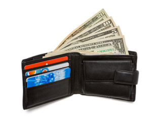 Wallet with dollar bank notes