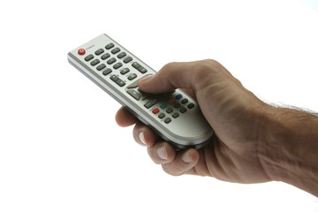 hand holding remote control