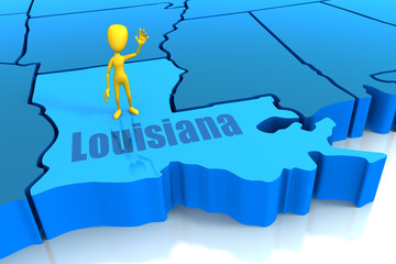 Louisiana state outline with yellow stick figure
