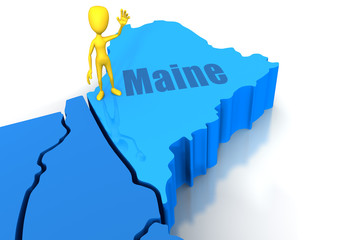 Maine state outline with yellow stick figure