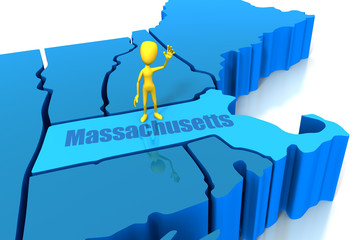 Massachusetts state outline with yellow stick figure