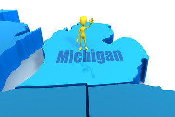 Michigan state outline with yellow stick figure