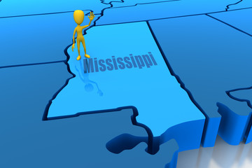Mississippi state outline with yellow stick figure