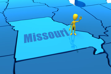 Missouri state outline with yellow stick figure