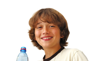 Smiling Teenage Boy After Drinkng Water