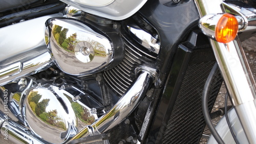 Chrome motorbike engine