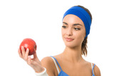 Portrait of woman in sportswear with apple, isolated poster