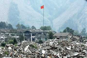 The Chinese national flag on the ruins