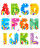 Spring or summer alphabet set letters A - L