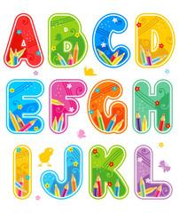 Spring or summer alphabet set letters A - L