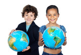 Two happy children learning geography poster
