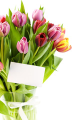 bouquet of tulips with a blank gift card