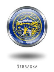 3D  Nebraska  Flag button illustration on a white background