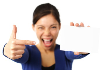 Woman holding blank card / white sign