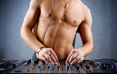 Dj has strong body and music equipment