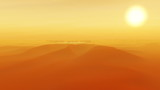 Wilderness Desert Sandstorm Sunset with Oasis