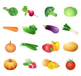 Set of colorful isolated vegetables for calorie table poster