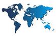 Blue world map on white
