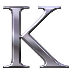 3D Silver Greek Letter Kappa