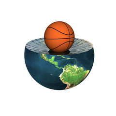 basket ball on earth hemisphere isolated on a white