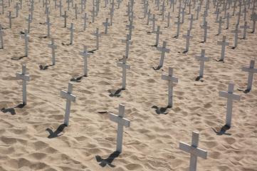 Crosses on the beach