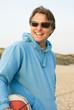 happy man on beach.