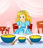 Fairy tale. Little girl with three plateful of kasha.