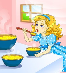 Fairy tale. Little girl eat hot kasha.