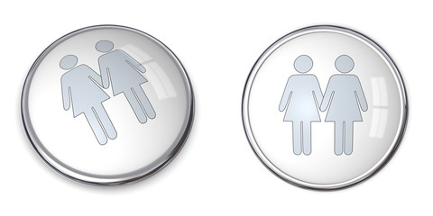 3D Button Female Couple Pictogram