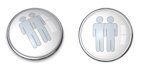3D Button Male Couple Pictogram